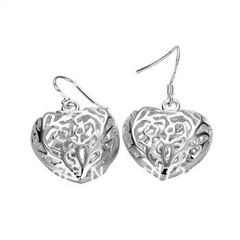 Guaranteed 100% 925 Sterling Silver Beauty Heart Hollow Earrings +Free shipping XC175(China (Mainland))