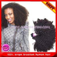top quality  afro kinky curly natural color 100% virgin malaysian human hair weft ,no shedding no tangle