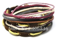 Wholesale health bracelet leather and hemp adjustable length genuine leather bracelets D0327