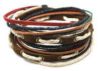 Wholesale leather wrap bracelet leather and hemp adjustable length fashion leather bracelets D0328