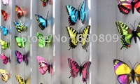 Free shipping Mixed Colors Wedding Decoration 200pcs 8.5*5.6Magnetic butterfly for home decoration!