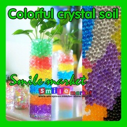 Free shipping new arrival 5g 100bag/lot magic water plant jelly ball crystal soil(Random sent colors)(China (Mainland))