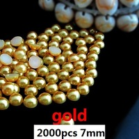 best selling  2000pcs 7mm gold imitation half ball  flatback pearls