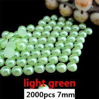 best selling 2000pcs 7mm light green imitation half ball  flatback pearls