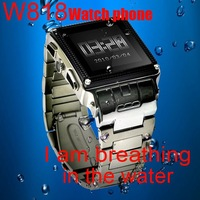 Free shipping! Drop ship!Waterproof watch phone W818 Black and silver color for choose!