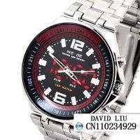 HOT Freeshipping Fine steel strap digital pointer calendar male watch + Box W006