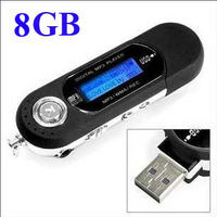 FREE shipping AAA battery supported 8GB USB Digital MP3,Flash MP3 Player with FM Radio