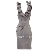 Free shipping Georgous Petite Dress, Sleeveless Satin Tiered Cocktail Dress D059