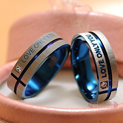Free Shipping Stainless Steel Wedding Bands Couple Rings Korean Jewelry Lovers, his and hers promise ring sets For men and women(China (Mainland))