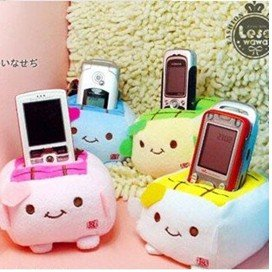 Free shipping 100pcs/lot cute Japan tofu plush mobile phone holder popular and Environmentally friendly toy