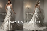 A-line gown corset closure Soft Shimmer Satin xquisite floral ribbon bouquet asymmetrical train wedding dresses