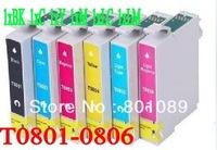 Wholesale -Compatible ink cartridge T0801-T0806 use for EPSON  STYLUS Photo R265/R360; RX560(6pcs/set)