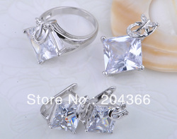Free shipping wholeale 925 silver jewelry Rhodium plated lot pendant+ring+earring set cz s135(China (Mainland))