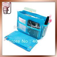 Free Shipping Wholesale 5 Colors Mixed Order Cheap Organizer Bag in Bag Handbag Organizer with Pockets(12 pcs/lot)