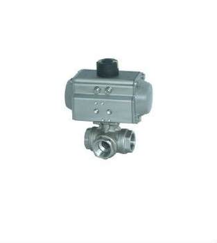 1/2 INCH stainless steel Pneumatic 3 way ball valve with double operating, control pressure:3-8bar, working pressure:0-40bar,