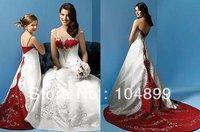Fashion Hot Sale New Style  White/Red Taffeta  Wedding Dress Custom Size 2.4.6.8.10.12.14.16.18.20