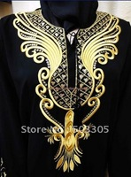 MS11061502 free shipping lastest style high quality black muslim abaya with gold/black embroider