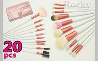 Wholesale - 20 pcs MAKEUP BRUSH SALON ARTIST BAG SET PINK Gift Kit Free Shipping