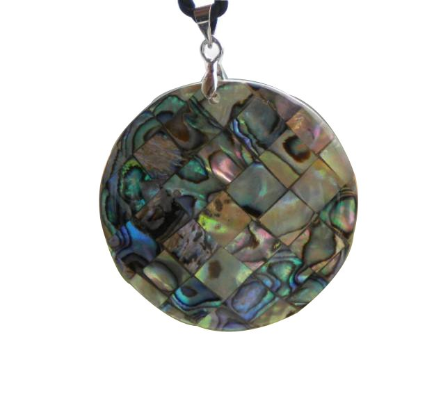 4cm dia unique natural paua abalone shell mosiac round Pendant Necklaces XP001(China (Mainland))