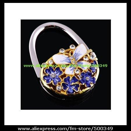 3D Butterfly Purple Flowering Shrubs Foldable Purse Hook Hanger Bag Holder Handbag Caddy(China (Mainland))