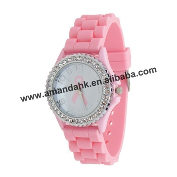 105pcs/lot,silicone pink ribbon lady watch,DHL/FedEx free shipping fashion crystal watch
