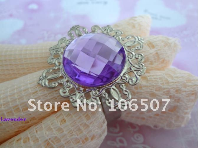 50pcs Lavender Gem Napkin Rings banquet Wedding Favour Party table decoration hot selling free shipping(China (Mainland))