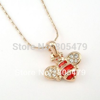 Free Shipping 18K Gold Plated Stellux Austrian Crystals cz Cute Bee Vintage Pendant & Necklace 070417