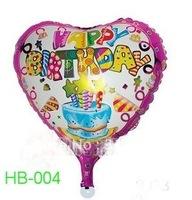 "Free Shipping! HB-004 Heart Shape -18"" Happy Birthday/Party Foil Balloon, 20pcs/lot"