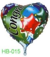 "Free Shipping, HB-015 Heart Shape -18"" Happy Birthday/Party Foil Balloon, 20pcs/lot"