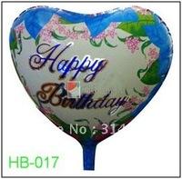 "Free Shipping, HB-017 Heart Shape -18"" Happy Birthday/Party Foil Balloon, 20pcs/lot"