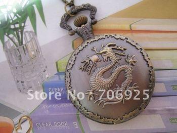Free shipping Wholesale Retail Antique Bronze Dragon Pattern Big Size Quartz Pocket Watch Necklace
