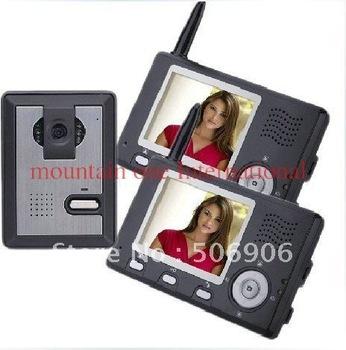 Newest wireless color video door phone/ video intercom systems/video door bell ( One outdoor camera with two indoor monitors )