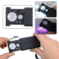 Free shipping 30X 60X LED Lighted Magnifier Jewelers Loupe Loop Glass Folding Jeweler Loupe