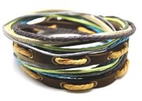 Free shipping fashion bracelet jewelly genuine leather bracelet Mulicoloured leher jewelry braided leather bracelet D0301
