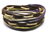 Free shipping fashion bracelet jewelly genuine leather bracelet Mulicoloured leher jewelry handmade leather bracelet   D0303