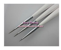 3pcs/set  Nail Art Design Brushes Gel Set Painting Draw Pen Polish Brush set White Handle wholesale
