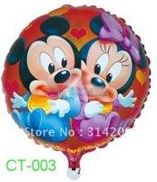 "Free Shipping! CT-003 Cartoon Design-(Micky & Minny) Foil Balloon/ Party Balloon/Holiday Balloon- Round Shape -18"", 20pcs/lot"