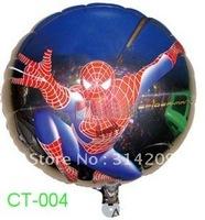 """Free Shipping, CT-004 Cartoon Design-(Spider-man) Foil Ballon/ Party Ballon/Holiday Ballon- Round Shape -18"""", 20pcs/lot"""