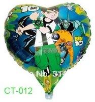"Free Shipping, CT-012 Cartoon Design-(Ben 10 Alien Force) Foil Balloon/ Party & Holiday Ballon- Heart Shape -18"", 20pcs/lot"