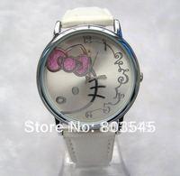 10pcs/lot Hot Fashion Watch HelloKitty Watch for Ladies Girl Leather band Watch Wristwatch