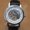 Silver Tone Skeleton Mechanical Mens Wrist Watch Winner A387