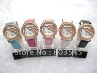 50pcs/lot  EMS Free Shipping  2012 New Fashion watch Hello Kitty Watch for Ladies Girl Wrist watch quartz watch diamond Watches