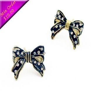 Fashion Jewelry Stud Earrings Black Bow  Vintage Earrings With rhinestones E295