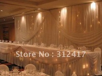 Wholesale and retail wedding backdrops and table skirting with swag , drapery curtain of wedding background decoration