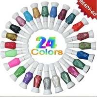 Free Shipping 24 color 2 way nail art polish with brush & pen varnish 24colour/lot whole sale