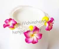 15 COLORS Hawaii frangipani Elastic Bracelets set 48pcs