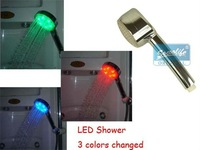 Free Shipping 10pcs/lot water flow power no battery 4 Colors LED Shower Head Light 4 Colors flashing jump change