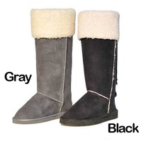 Free shipping winter warm woman flat heel fur snow boot suede mid calf boots WB054
