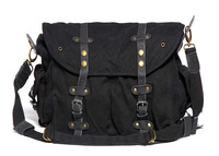 Free Shipping! Thick canvas bag retro Sling Bag  Men's Messenger Shoulder Bag postman bag casual leisure bag 281-0 black