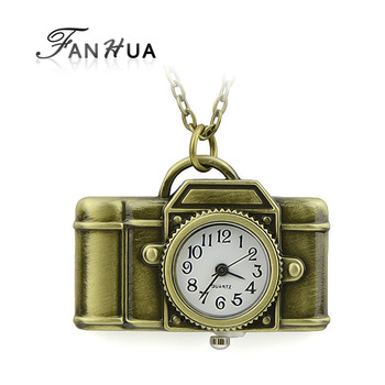 New 2013 hot selling designer jewelry antique gold color alloy camera design pendant pocket watch with chain